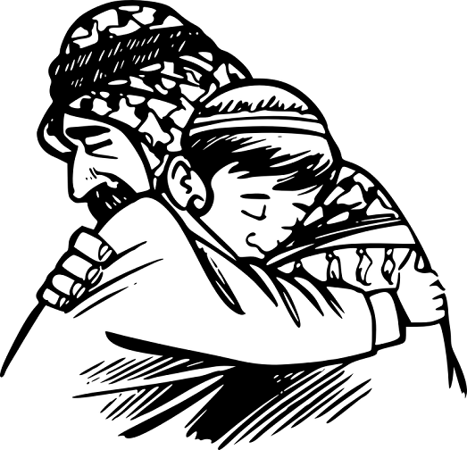 hugging sketch father and child