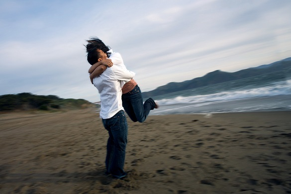 hug on beach
