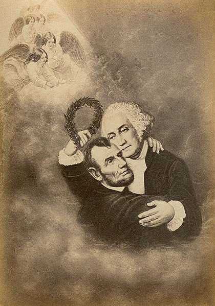 Washington and Lincoln Hug