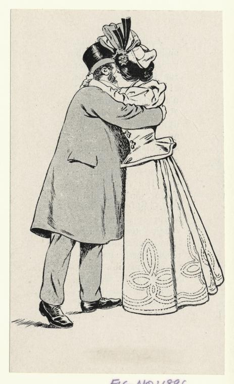 Old fashioned couple hug
