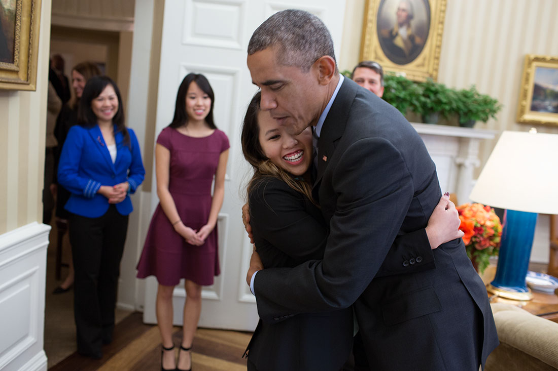 Barack Obama Hugs Woman